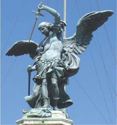 St. Michael sheathing his sword